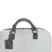 'KILBURN' - White & Grey Designer Leather Oversized Travel bag
