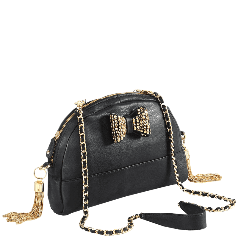 'MARYLAND' Black Designer Leather Half Moon Crossbody Bag