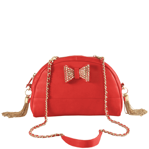 'MARYLAND' - Red Half Moon Shaped Full Grain Clutch Bag
