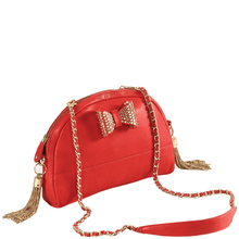 'MARYLAND' - Red Designer Leather Half Moon Shaped Shoulder Bag