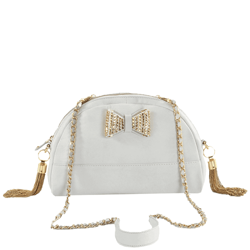 'MARYLAND' - White Half Moon Shaped Full Grain Clutch Bag
