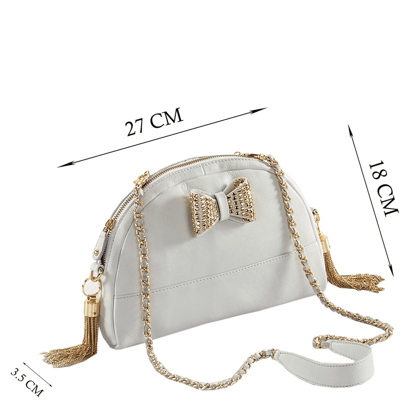 'MARYLAND' White Designer Leather Half Moon Crossbody Bag