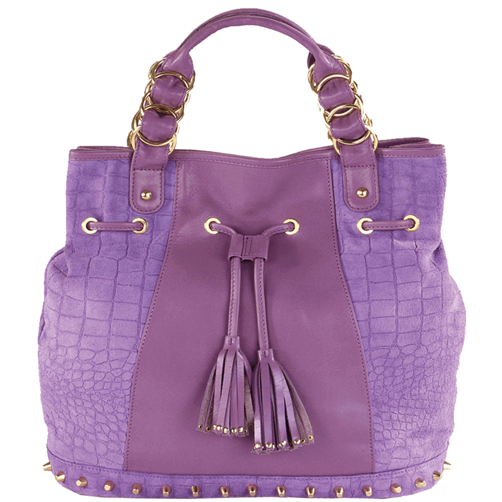 'WINDEMERE' - Purple Designer Leather Suede Crocodile Print Tote Bag