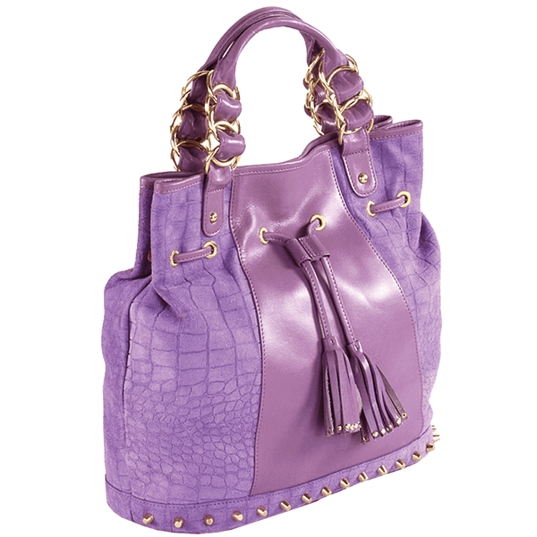 'WINDEMERE' Purple Designer Crocodile Printed Suede Leather Tote Bag