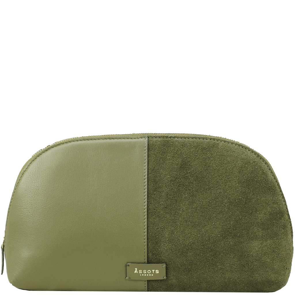 'DAISY' - Olive Designer Leather Suede Wash Bag