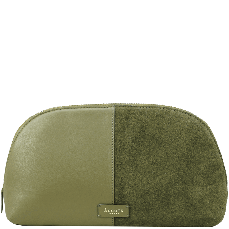 'DAISY' - Olive Suede Leather Wash Bag