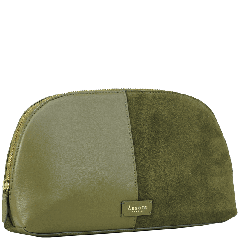 'DAISY' Olive Suede Leather Wash Bag