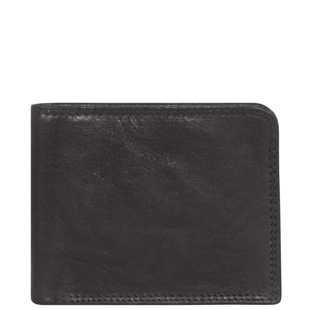 'DOUGLAS' - Black RFID Protected Full Grain Trifold Wallet