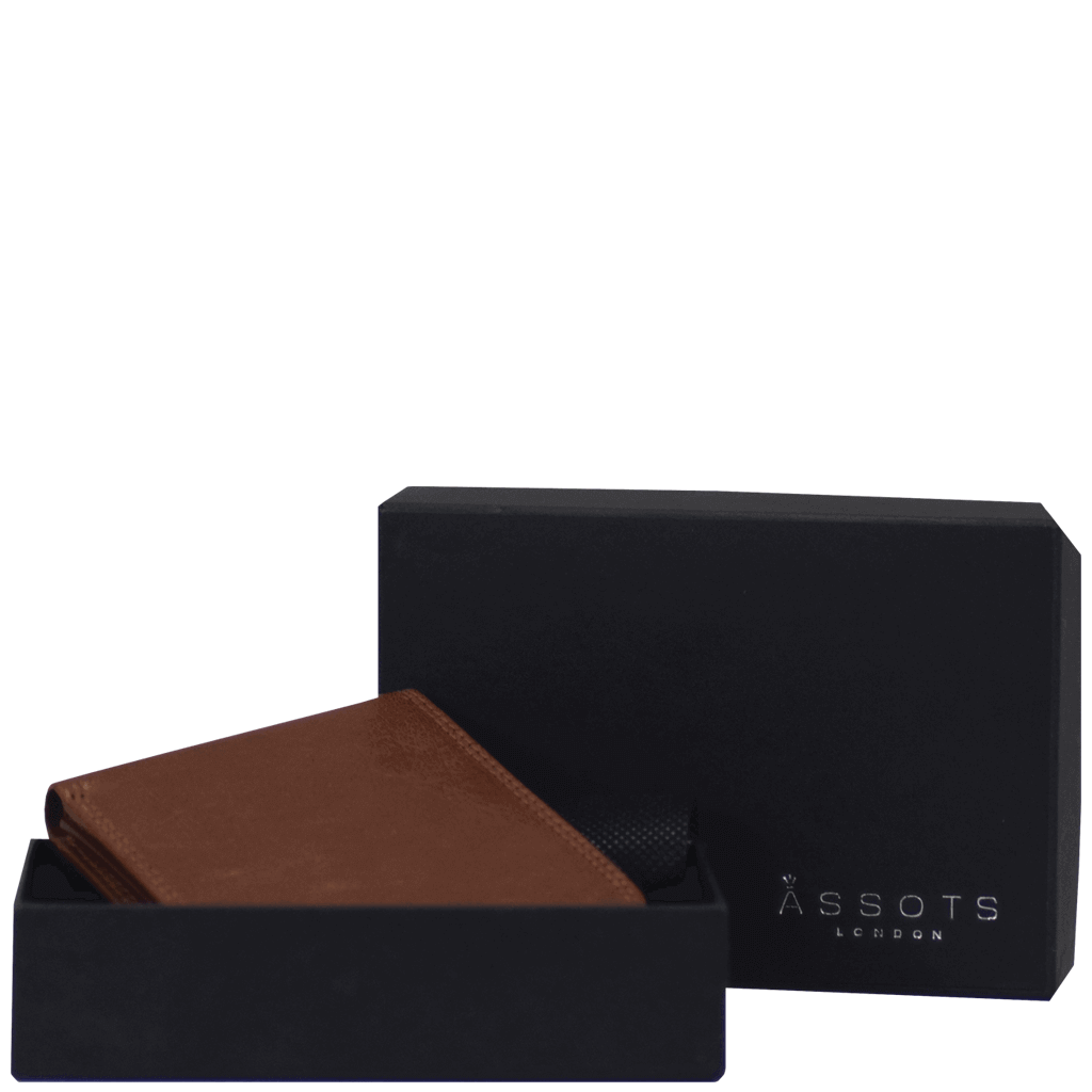 'DOUGLAS' - Cognac RFID Protected Full Grain Trifold Wallet