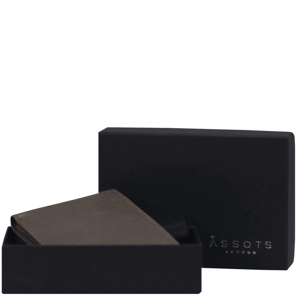 'DOUGLAS' - Grey RFID Protected Full Grain Trifold Wallet