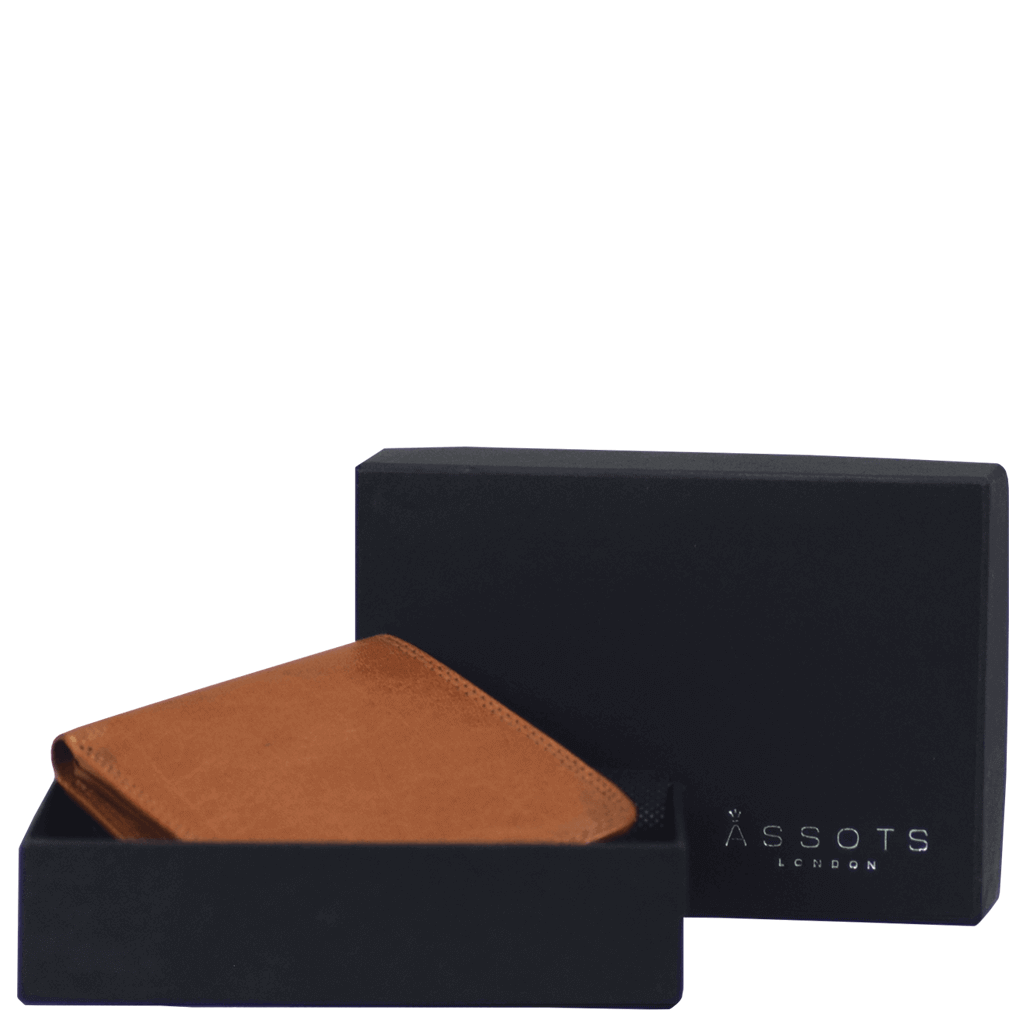 'DOUGLAS' - Tan RFID Protected Full Grain Trifold Wallet