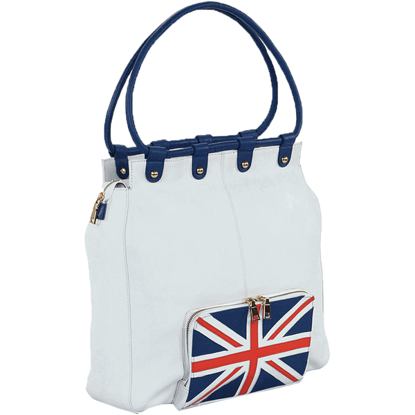'PARADISE' - Union Jack Designer Leather Large Tote Bag