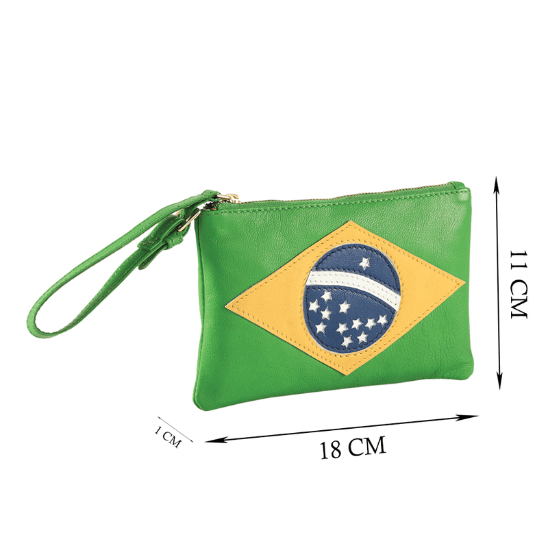 'BRAZILIAN' - Country Flag Designer Leather Clutch Purse