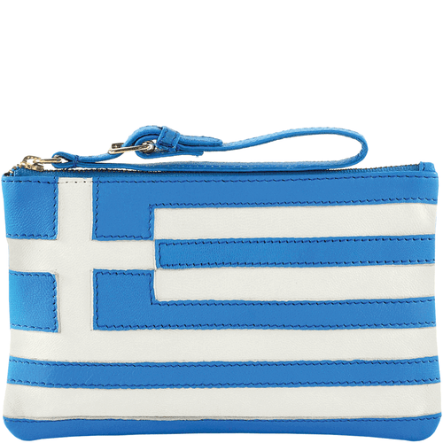 'GREEK' - Country Flag Full Grain Clutch Purse