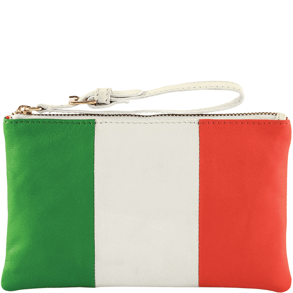 'ITALIAN' Country Flag Designer Leather Wristlet