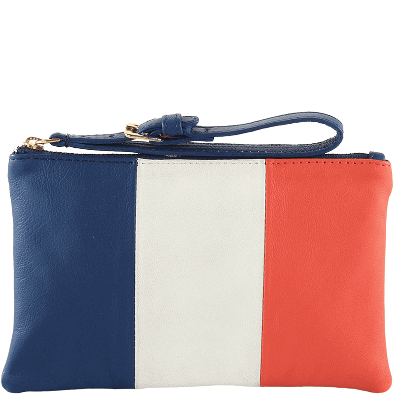 'FRENCH' Country Flag Designer Leather Wristlet