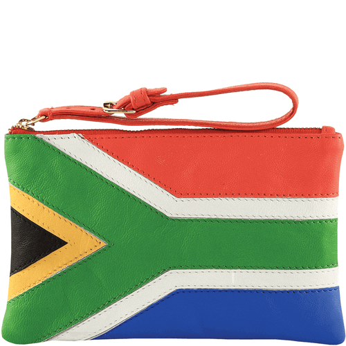 'S. AFRICAN' - Country Flag Full Grain Clutch Purse
