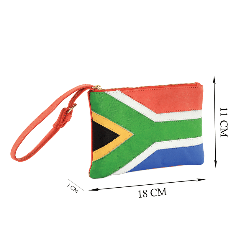 'S. AFRICAN' Country Flag Designer Leather Wristlet