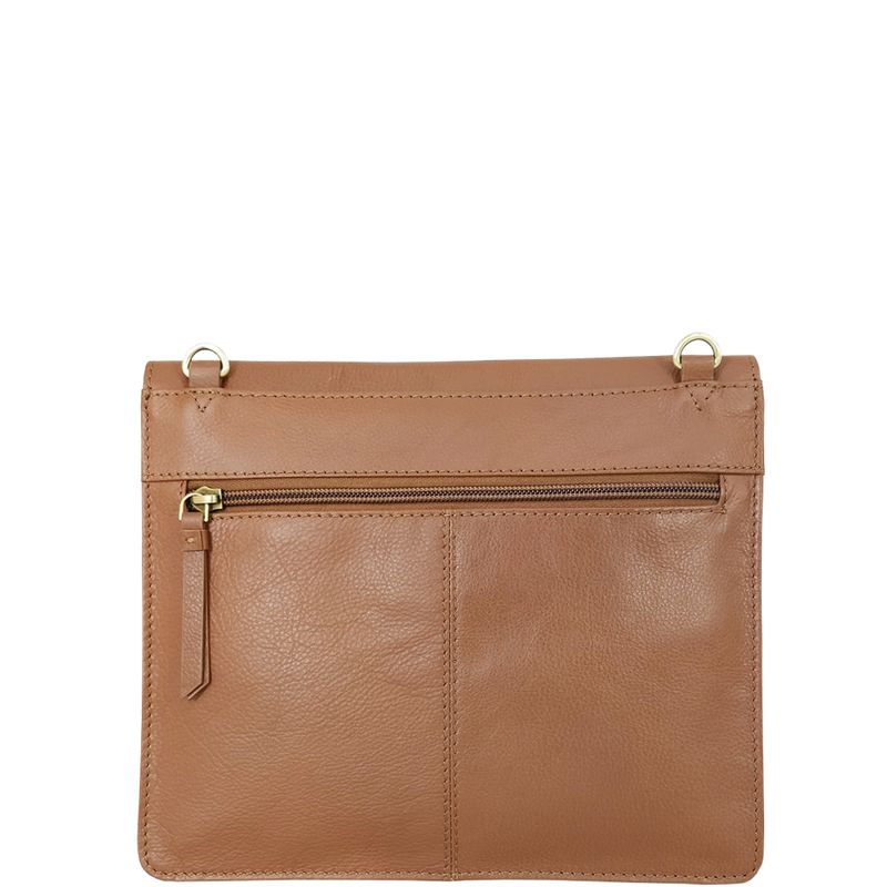 'OSLO' Tan Pebble Grain Leather Crossbody Bag