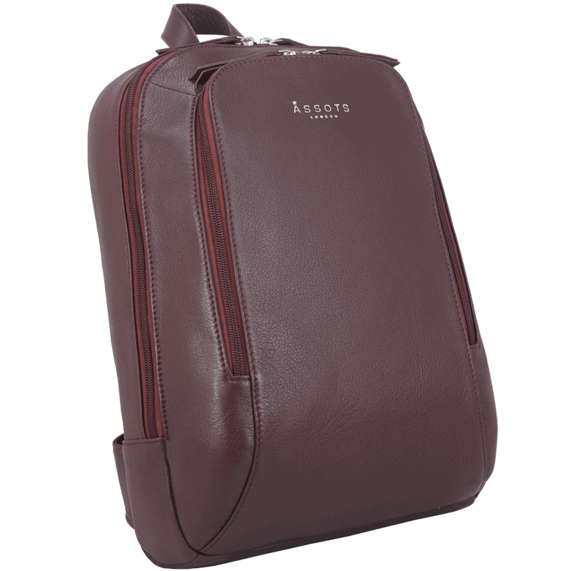 'BAKER' - Burgundy Full Grain Leather Double Zip Laptop Backpack