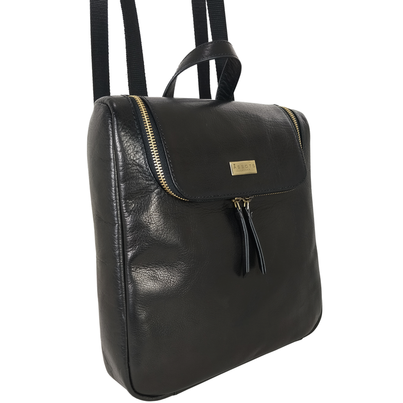 'ROSETTA' - Black Vegetable Tanned Leather Flap Backpack