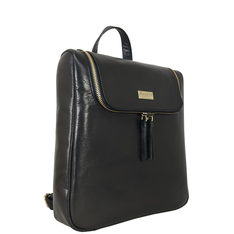 'ROSETTA' Black Vegetable Tanned Leather Flap Backpack