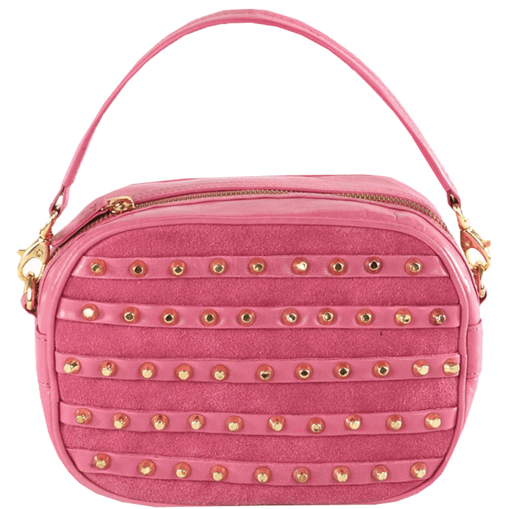 'CHESHAM' - Pink Leather Grab Handle Studded Bag