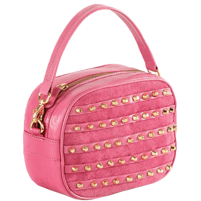 'CHESHAM' Pink Leather Grab Handle Studded Bag