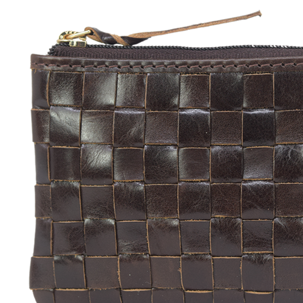 'STACEY' Brown Vintage Leather Woven Coin Purse