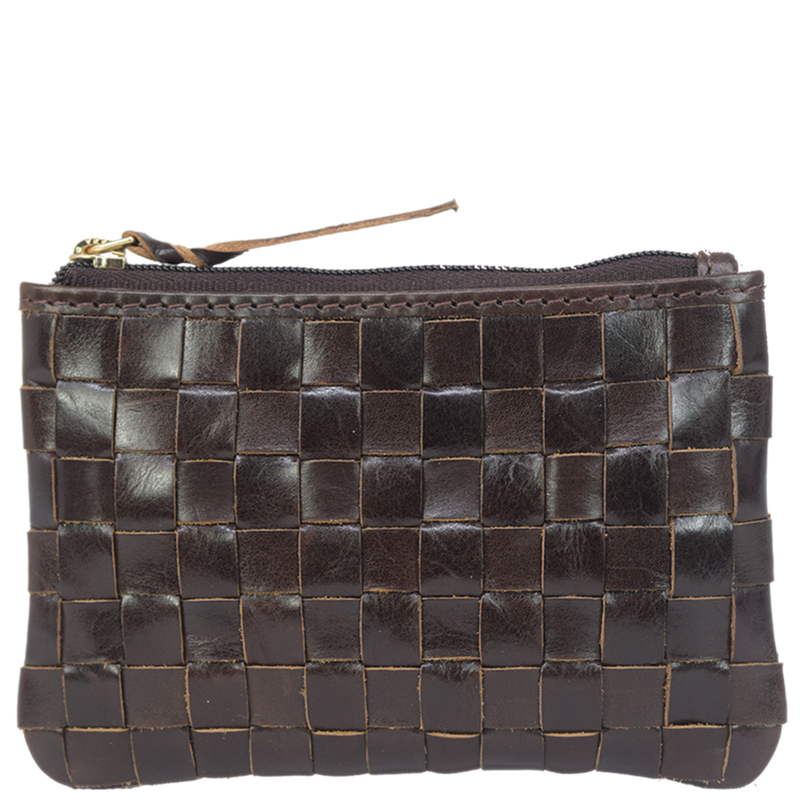 'STACEY' - Brown Vintage Leather Woven Coin Purse