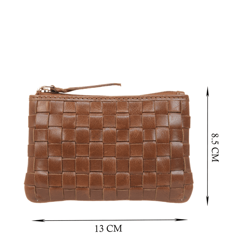 'STACEY' - Tan Vintage Leather Woven Coin Purse