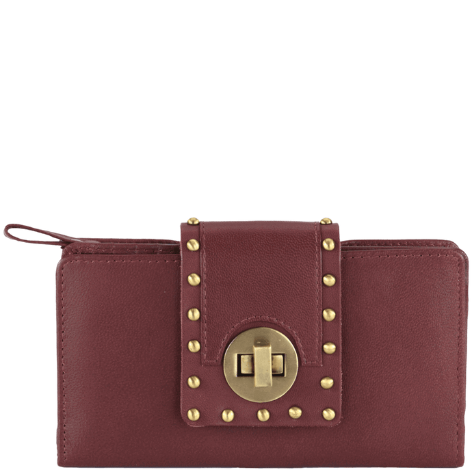 'KENSINGTON' - Burgundy Twist Lock Full Grain Clutch Bag