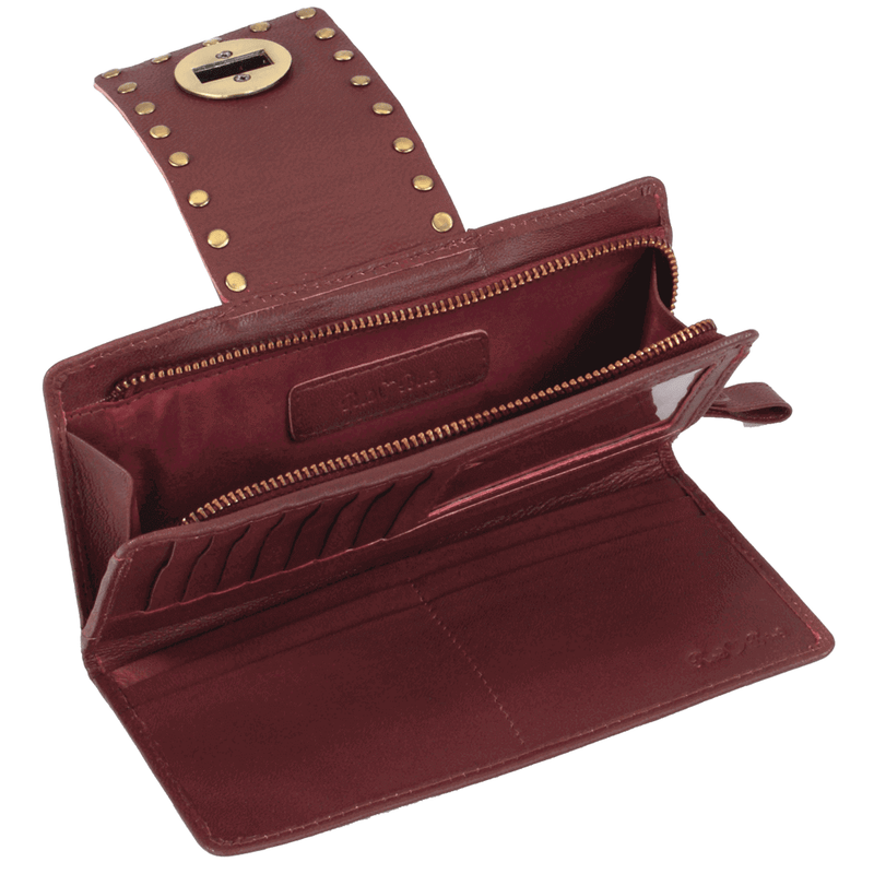 'KENSINGTON' - Burgundy Twist Lock Full Grain Leather Clutch Bag