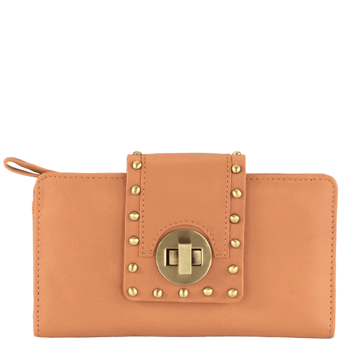 'KENSINGTON' - Tan Twist Lock Full Grain Clutch Bag