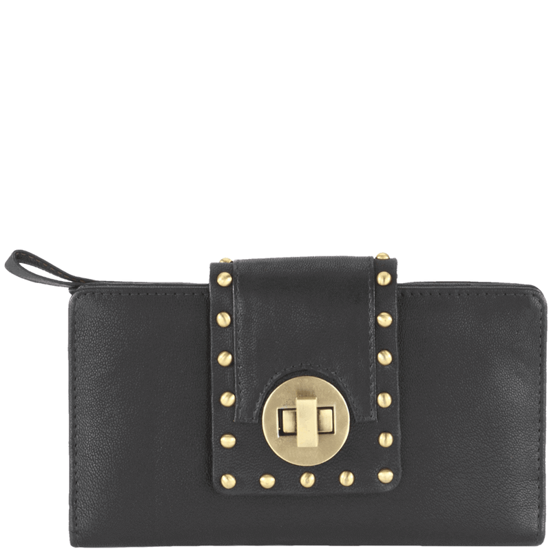 'KENSINGTON' Black Twist Lock Leather Clutch Bag