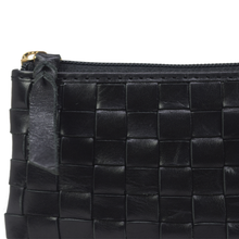 'STACEY' - Black Vintage Leather Woven Coin Purse