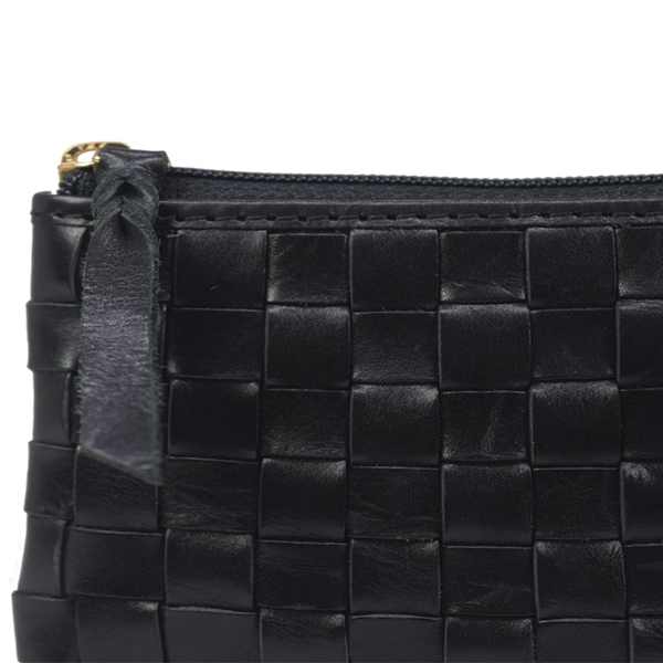 'STACEY' Black Vintage Leather Woven Coin Purse