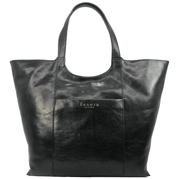 'REGENT' - Black Vintage Vegetable tanned Leather Tote Bag