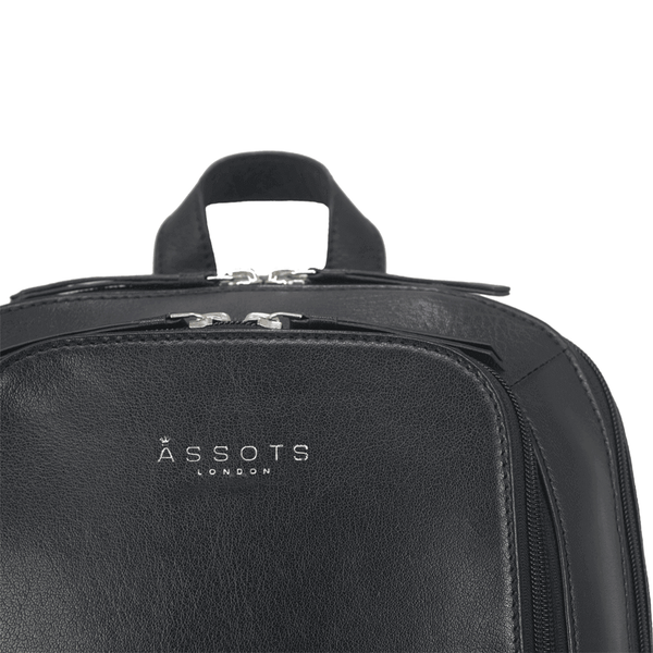 'BAKER' - Black Full Grain Leather Double Zip Laptop Backpack