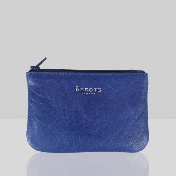 'Poppy' Blue Iris Full Grain Leather Zip Top Coin Purse