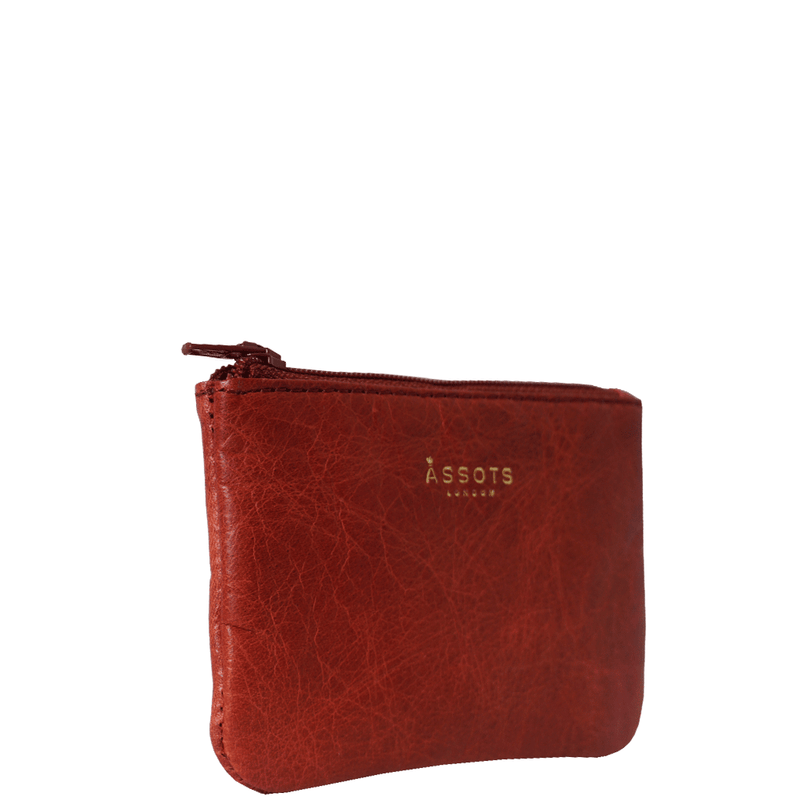 'Poppy' Red Full Grain Leather Zip Top Coin Purse