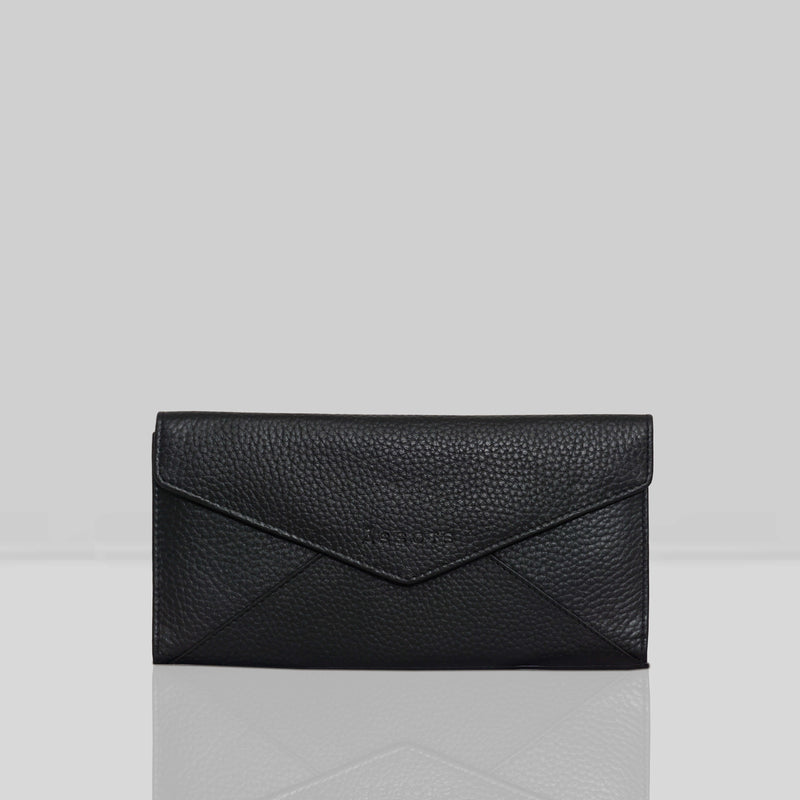 'PRESTON' Black Pebble Grain Trifold Leather Purse