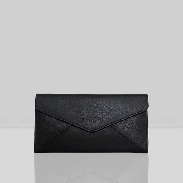 'PRESTON' Black Nappa Trifold Leather Purse