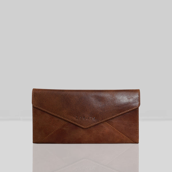 'PRESTON' Polished Tan Trifold Leather Purse