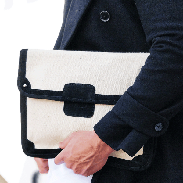 'SAVILE' Black Suede Leather Trims Canvas Flap-over Portfolio Bag