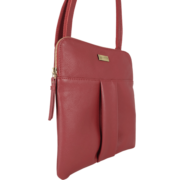 'ELSIE' - Paprika Red Nappa Pebble Grain Leather Zip Top Crossbody Bag