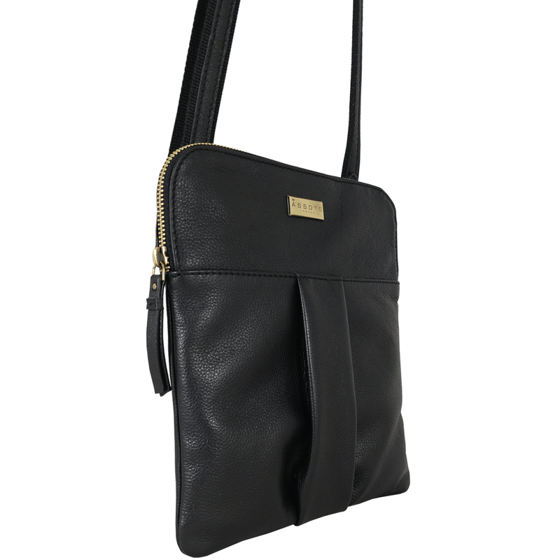 'KERALA' - Black Vintage Leather Shoulder Grab Bag