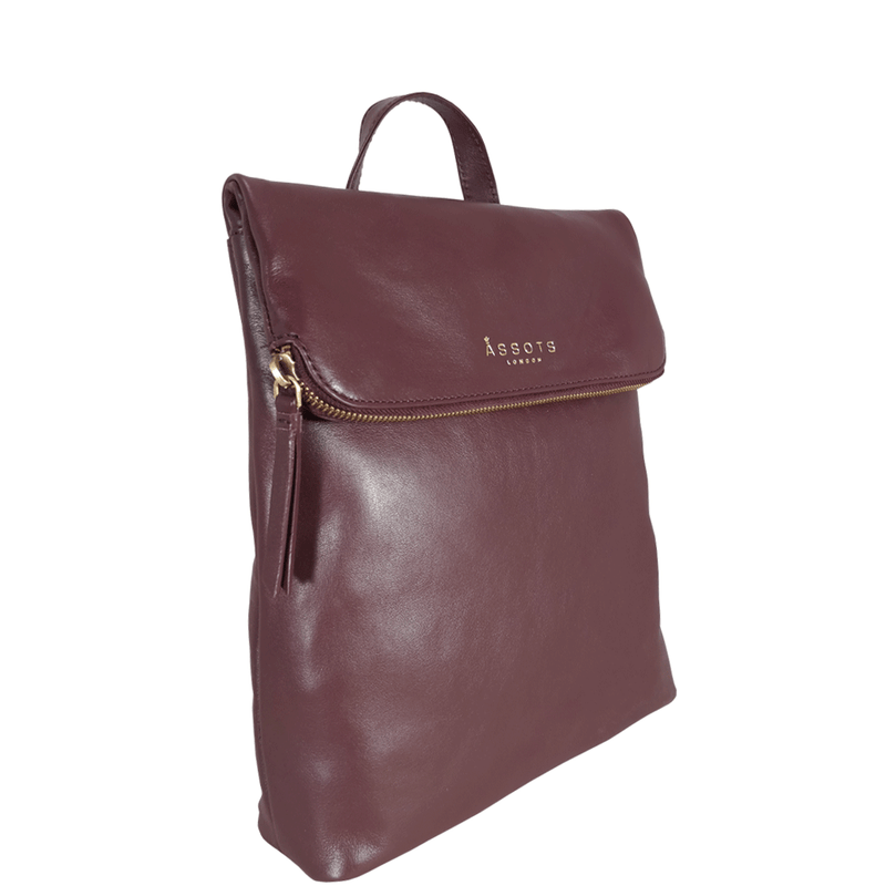 'MERLIN' Burgundy Full Grain Leather Zip Around Flap-over Backpack