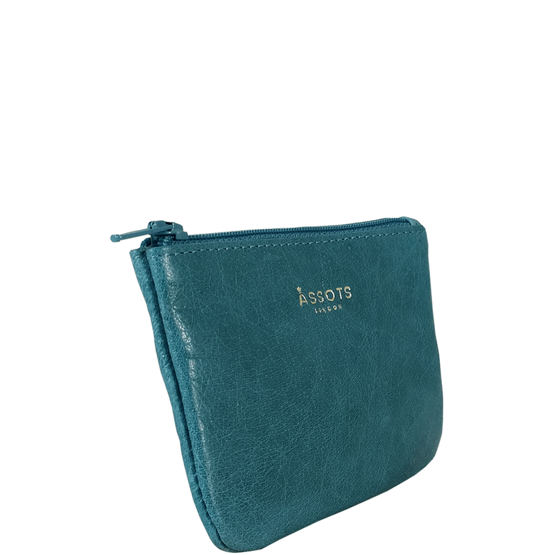 'Poppy' - Ocean Blue Full Grain Leather Zip Top Coin Purse