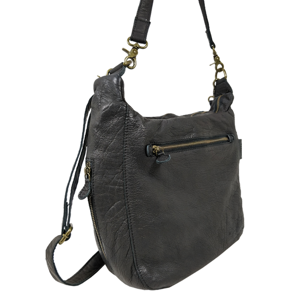'JAMES' - Black Vintage Aqua Leather Shoulder Bag